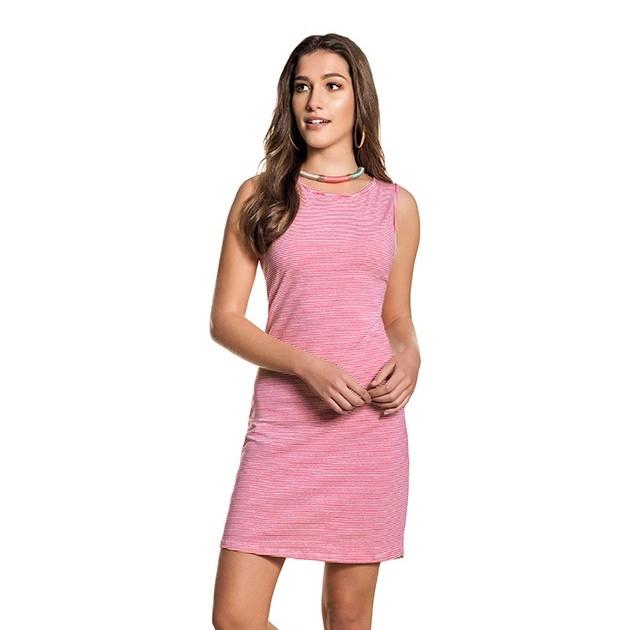 Vestido Curto Cotton Sem Mangas Rosa Listrado