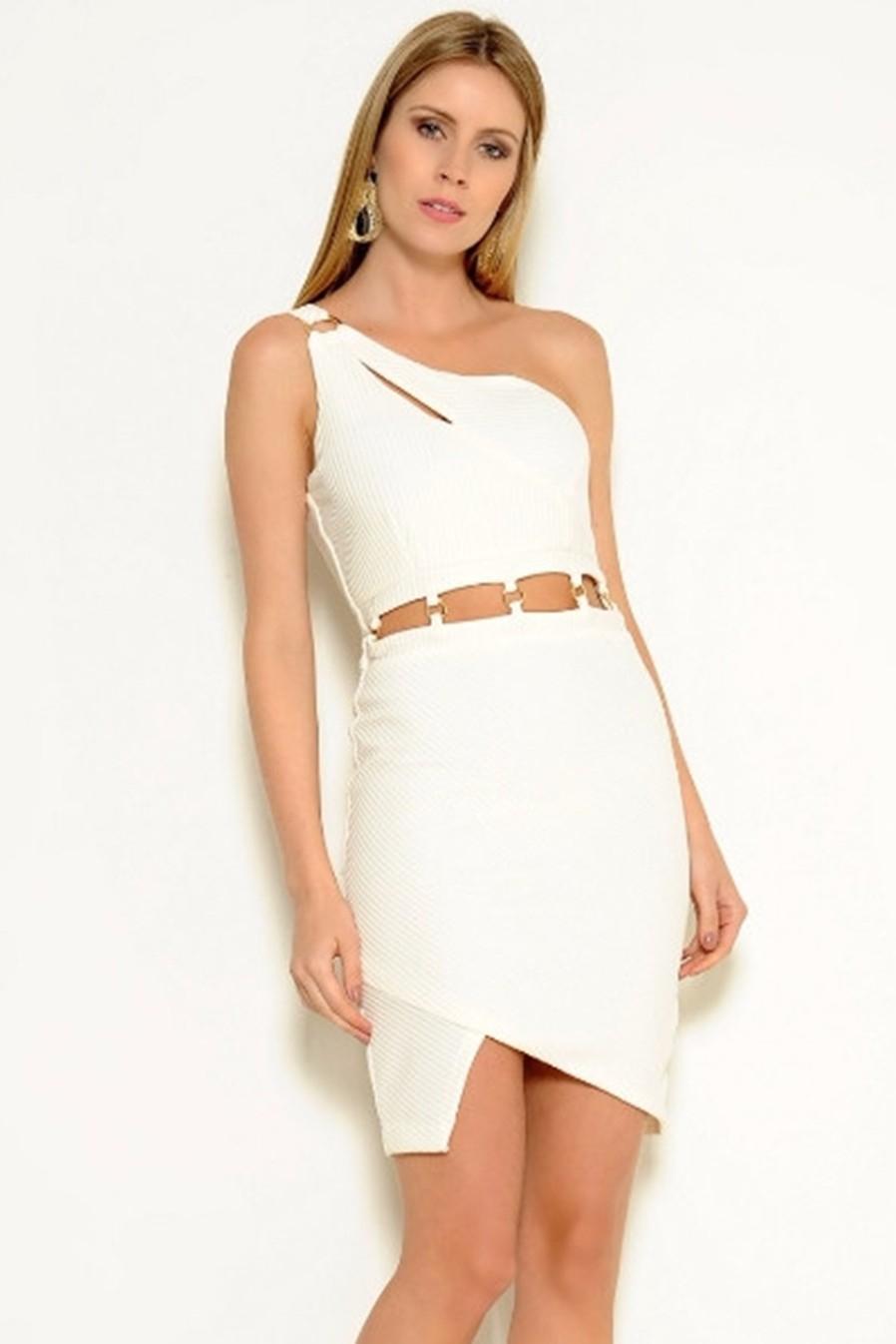 Vestido Curto Crepe Alça Vazado Assimétrico Branco