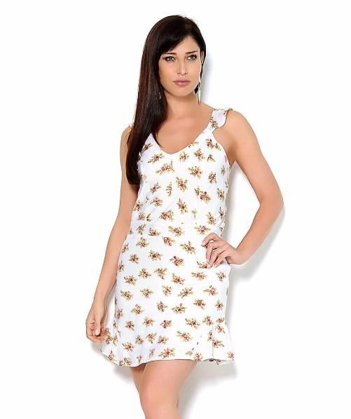 Vestido Curto Viscolycra Alças Branco Floral Amarração