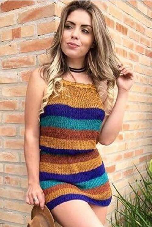 Vestido Curto Tricot Listrado Multicolor Marrom