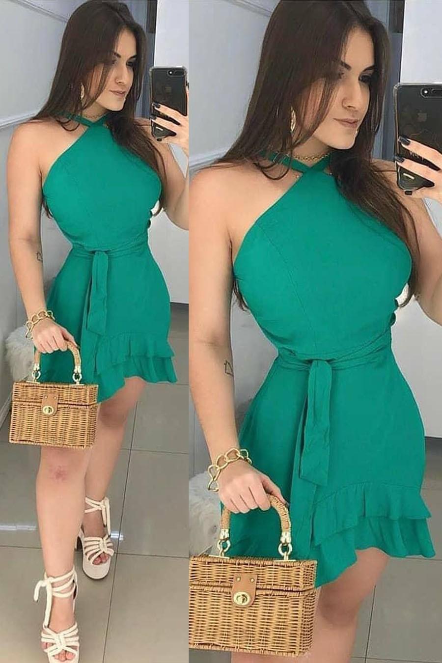 Vestido Curto Verde Jade Decote Jóia