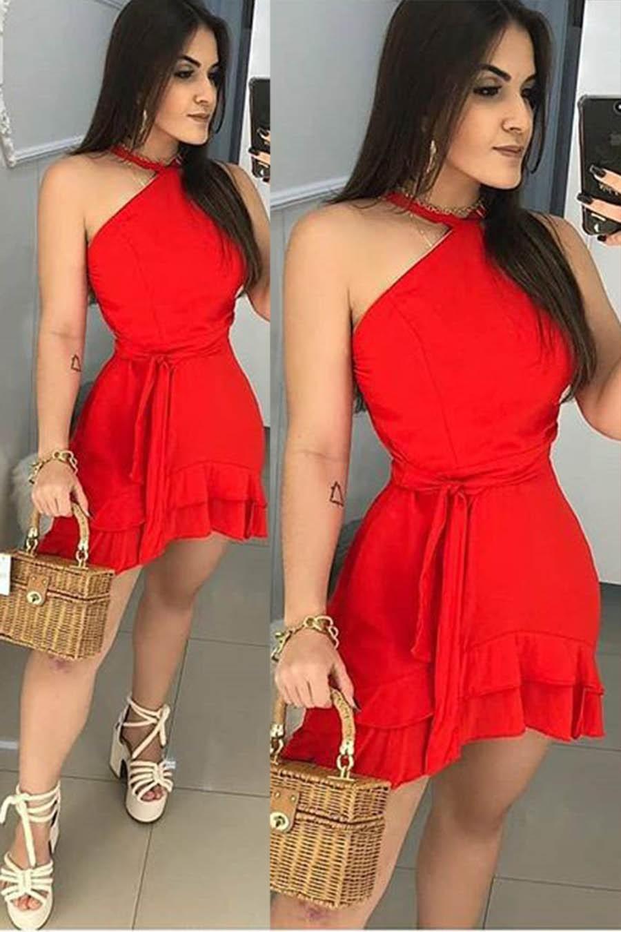 Vestido Curto Vermelho Decote Jóia