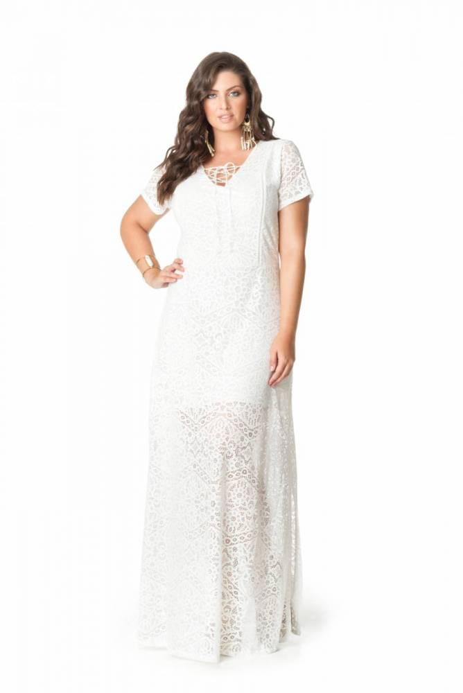 Vestido Longo Plus Size Manga Curta Branco Fendas
