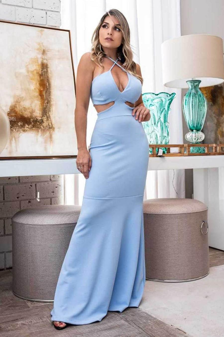 Vestido Longo Crepe Decotado Vazado Sereia Azul Claro