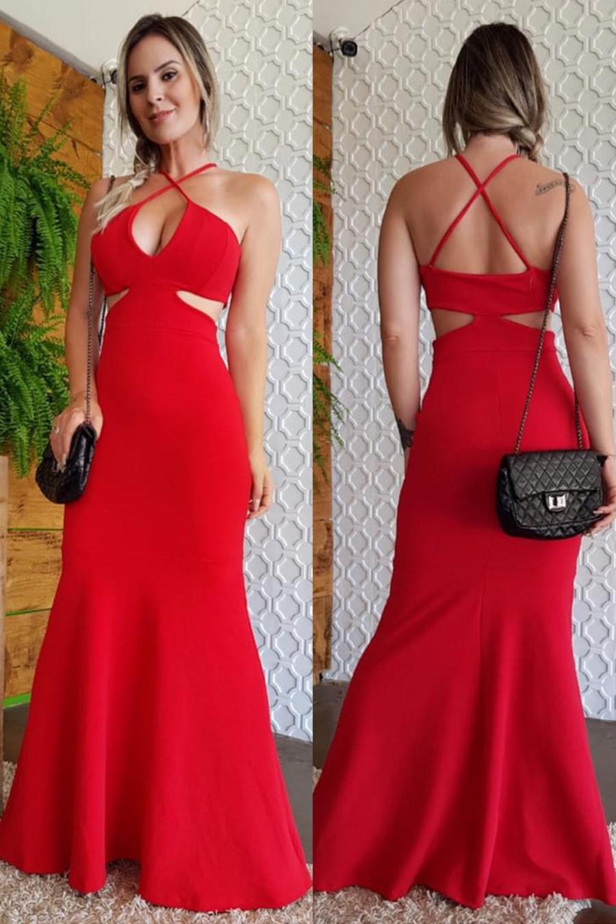 Vestido Longo Crepe Decotado Vazado Sereia Vermelho