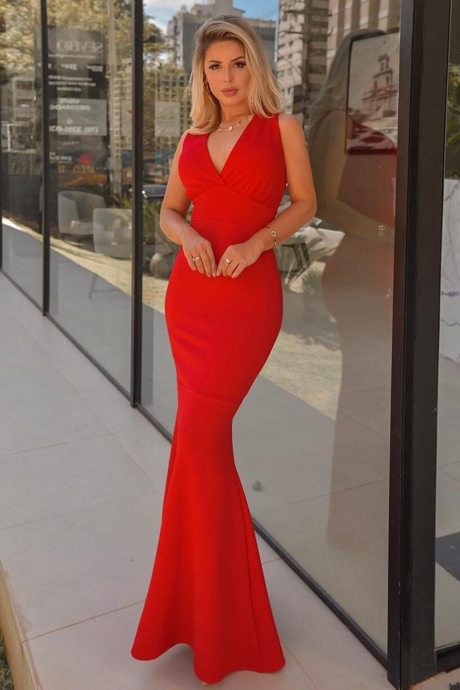 Vestido Longo Crepe Decote V Vermelho