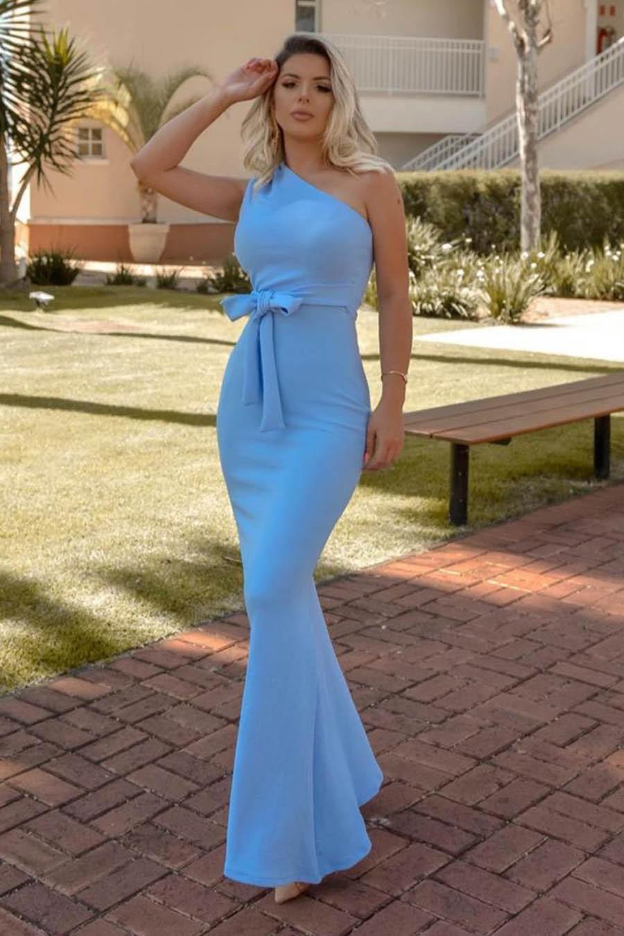 Vestido Longo Crepe Ombro único Laço Azul Claro