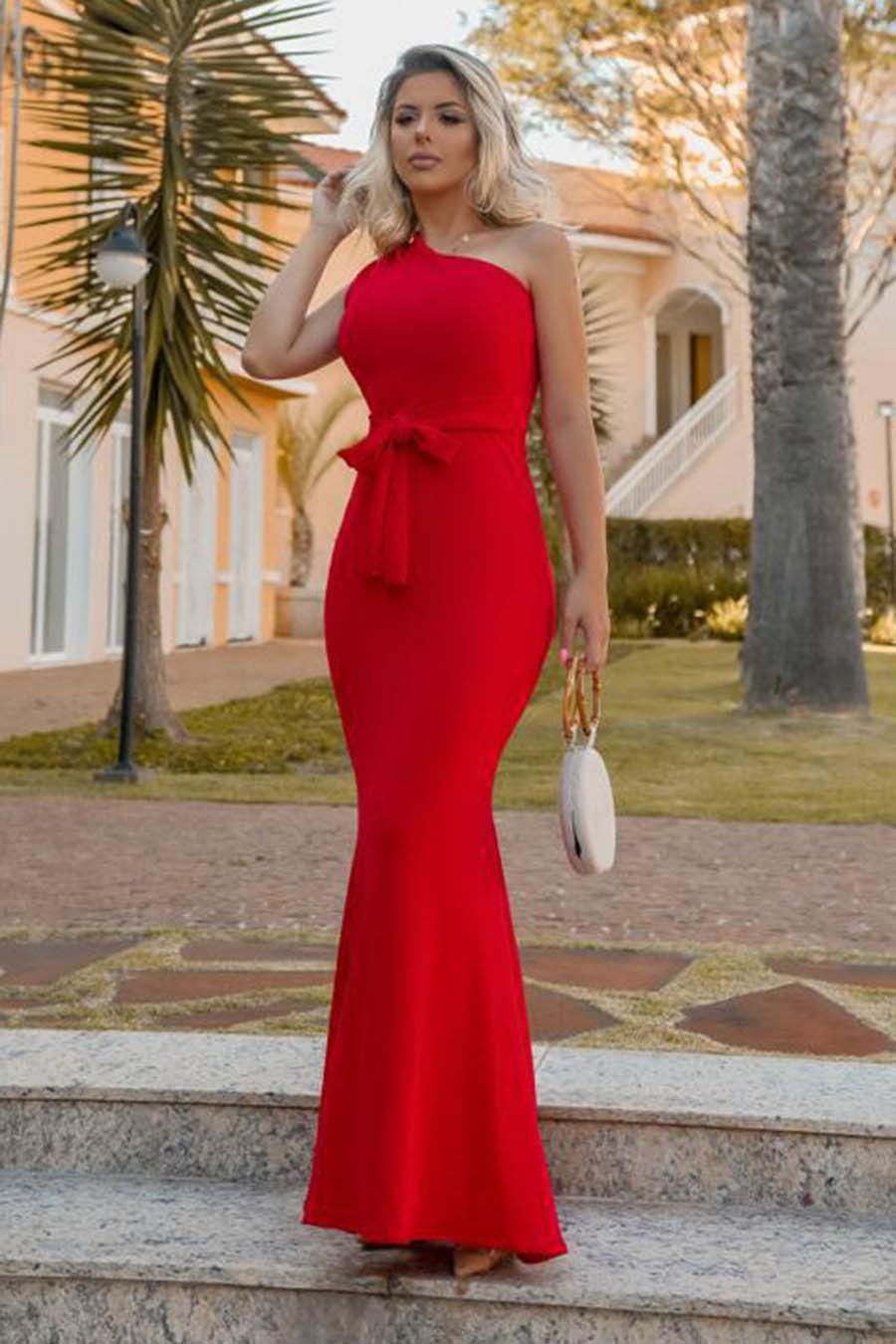Vestido Longo Crepe Ombro Único Laço Vermelho