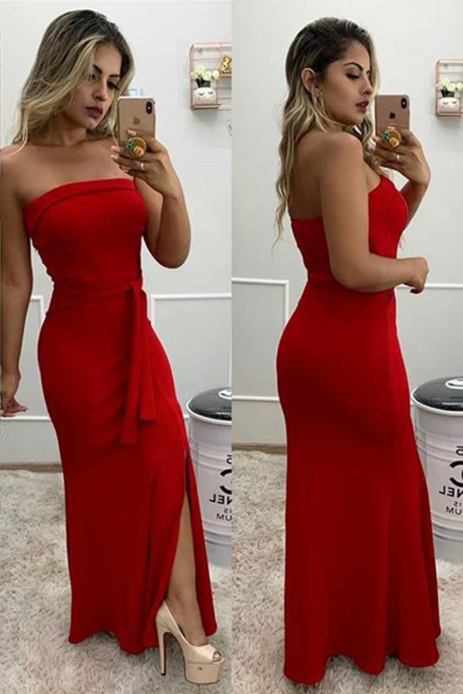 Vestido Longo Crepe Tomara Que Caia Acinturado Vermelho