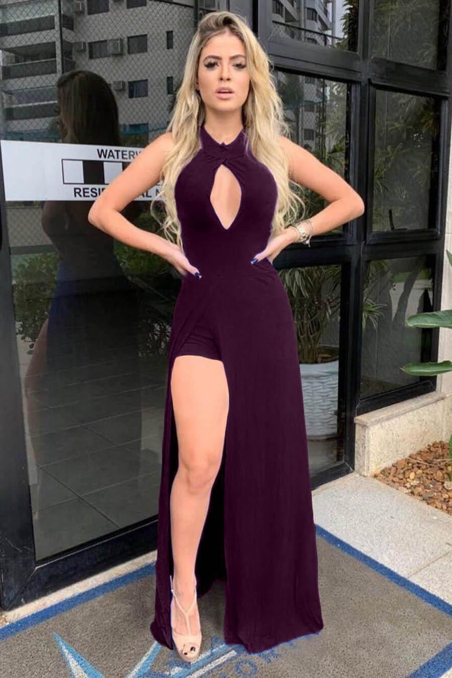 Vestido Longo Decotado Short Fenda Vinho
