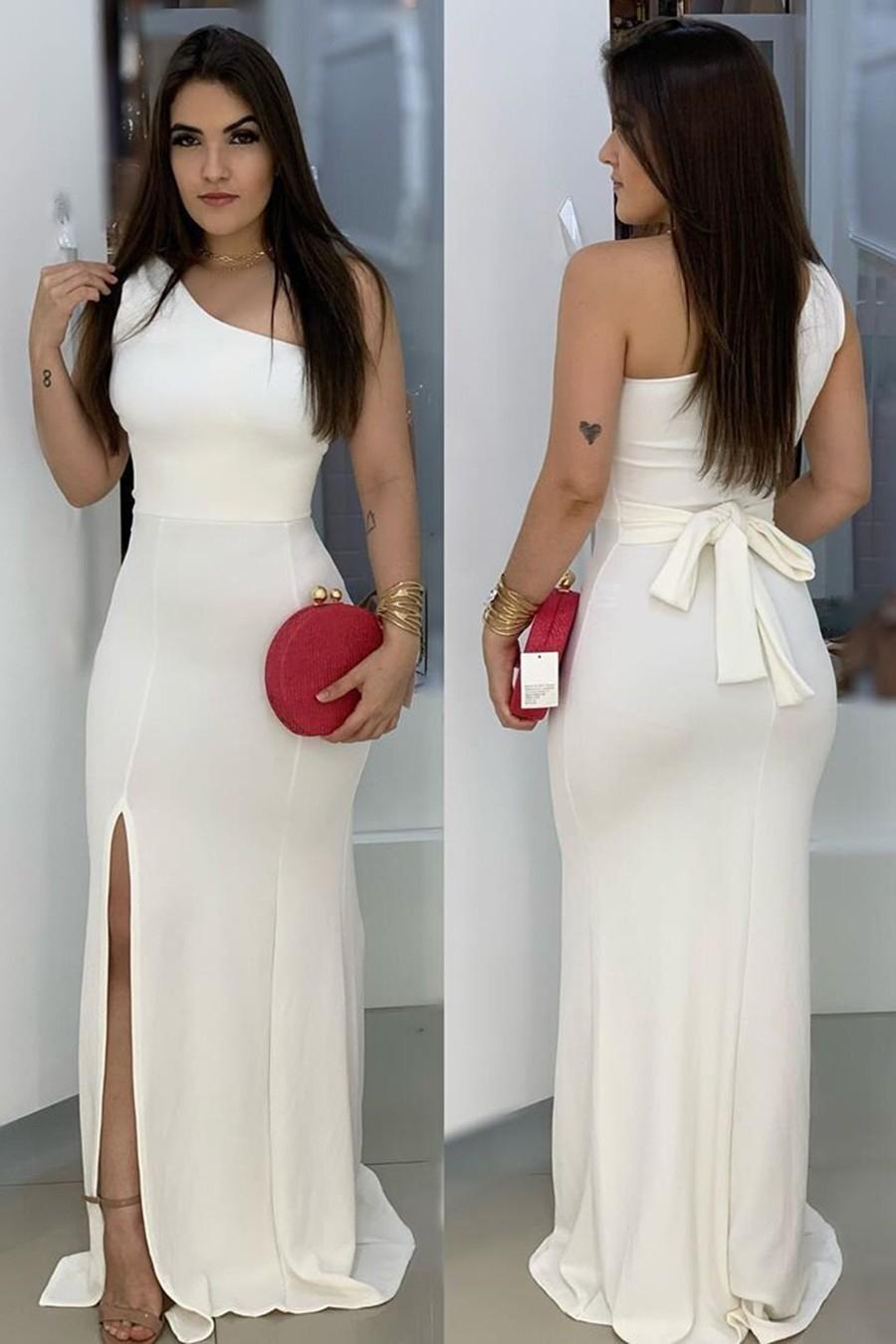 Vestido Longo Crepe Ombro Único Amarração Fenda Branco