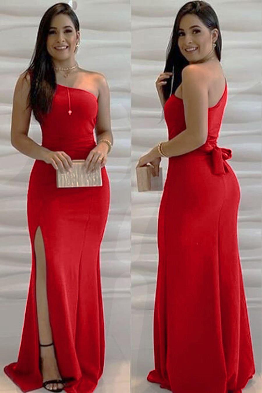 Vestido Longo Crepe Ombro Único Amarração Fenda Vermelho