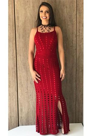 Vestido Longo Tricot Vazado Vermelho Fenda