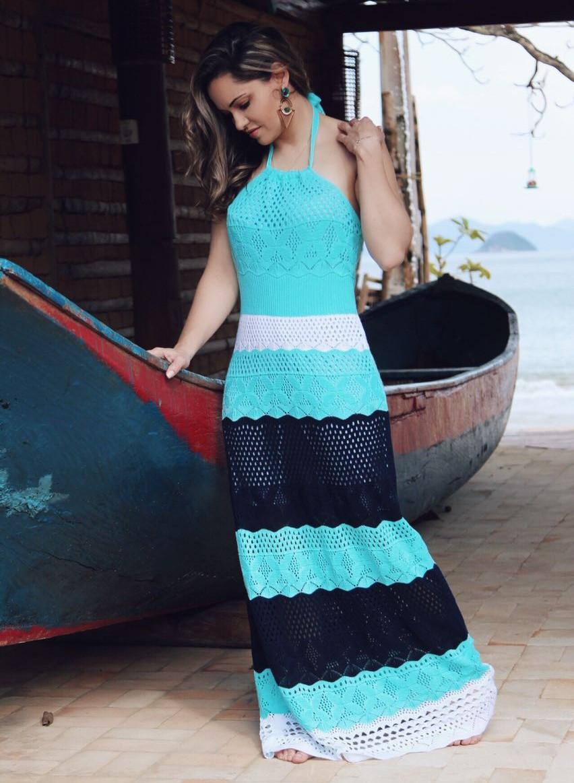 Vestido Longo Tricot Acqua