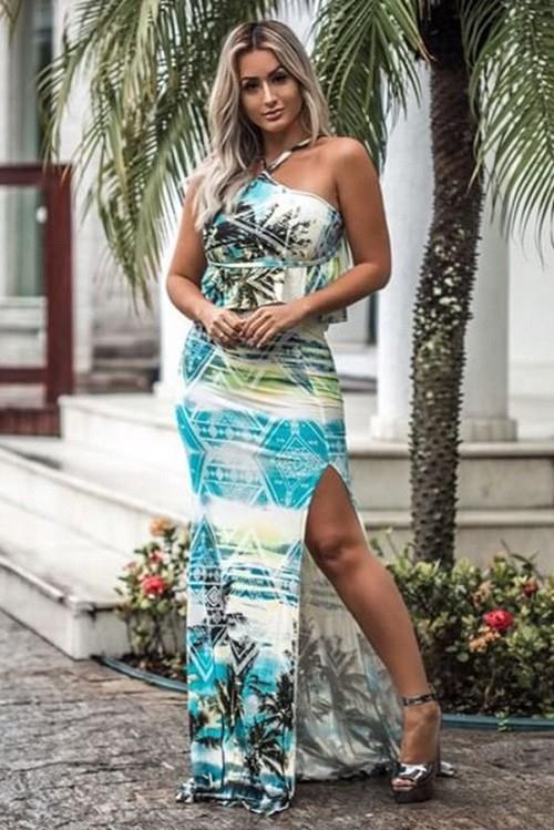 Vestido Longo Viscolycra Estampado Art Fashion Azul