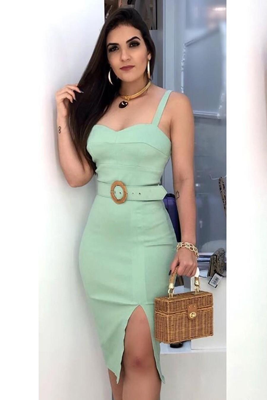 Vestido Midi Crepe Alças Fenda Verde