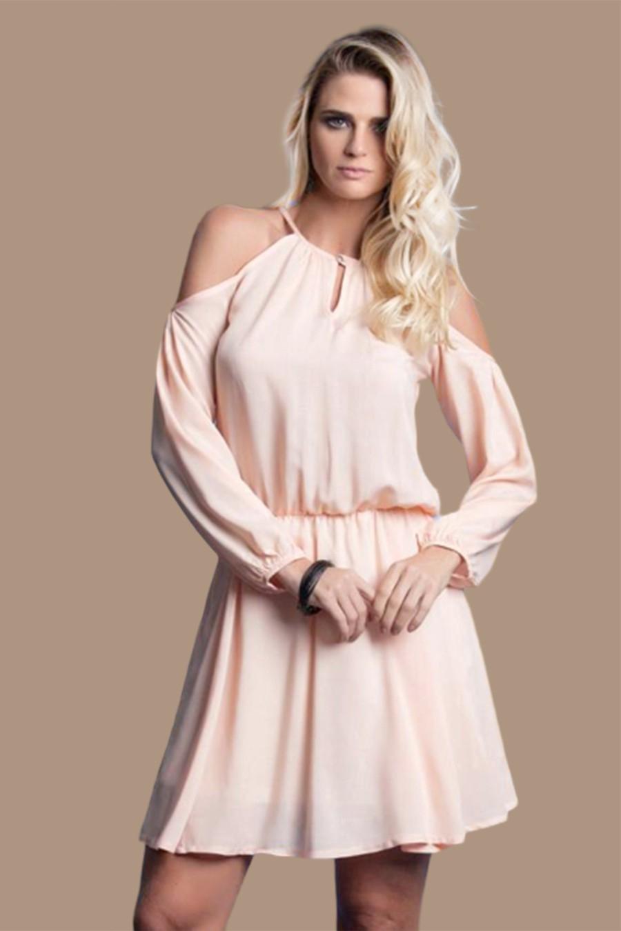 Vestido Viscose Curto Costa Aberta Ombro Vazado Rosa