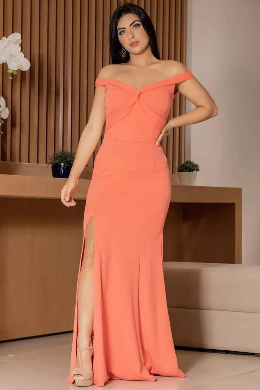 Vestido Longo Crepe Ombro a Ombro Fenda Coral