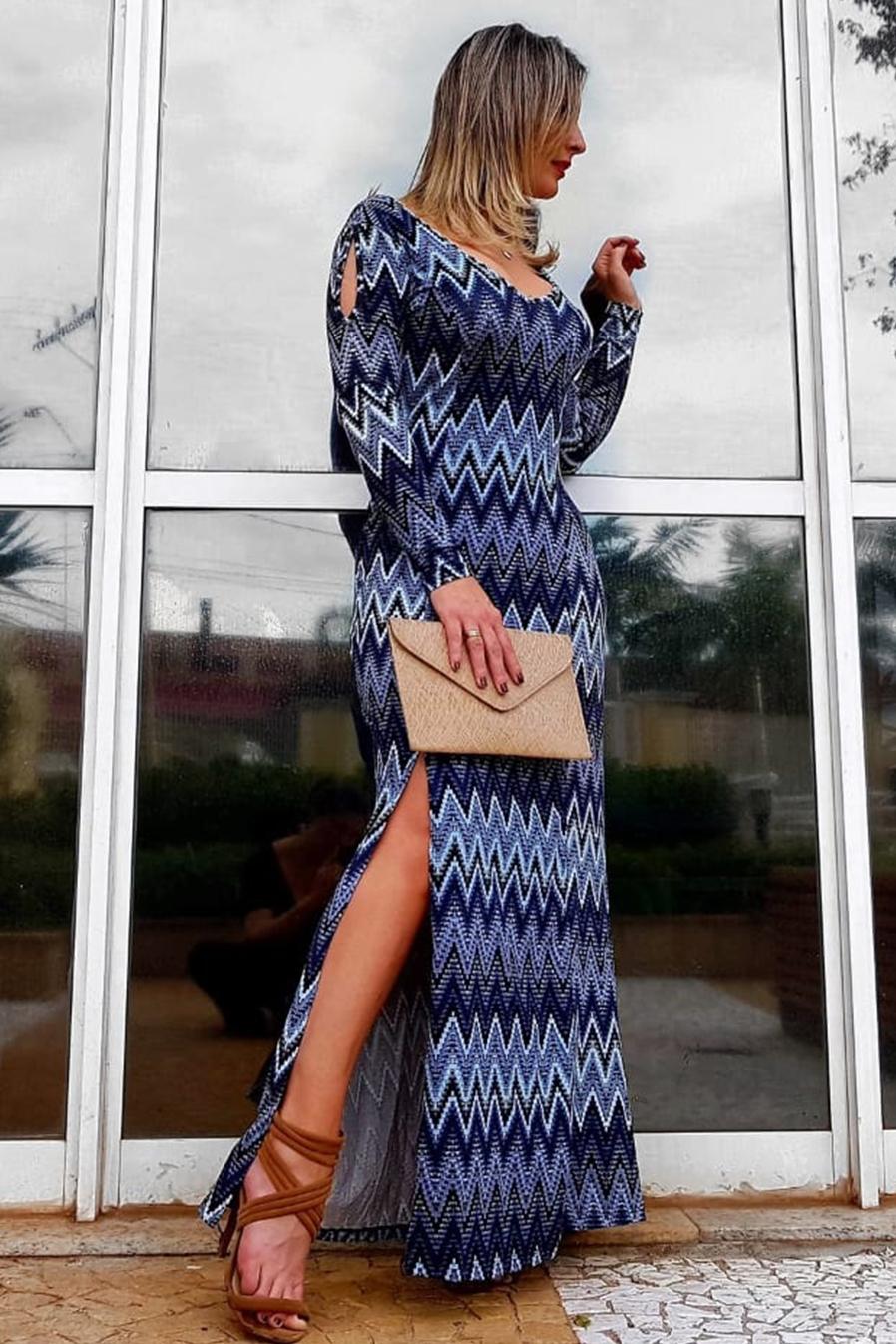 Vestido Longo Manga Longa Estampado Azul Fenda Viscolycra