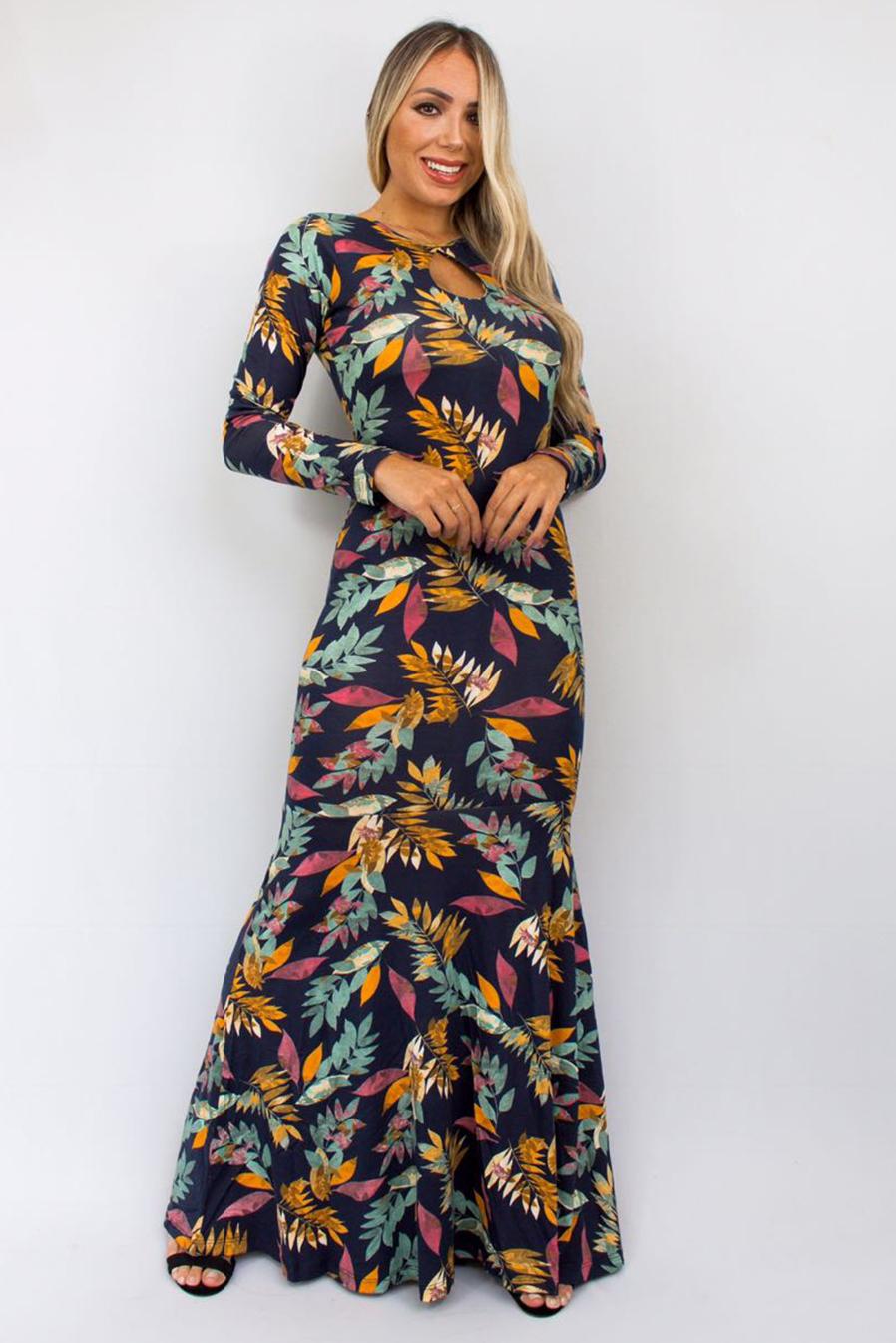 Vestido Viscolycra Longo Decote Gota Estampado