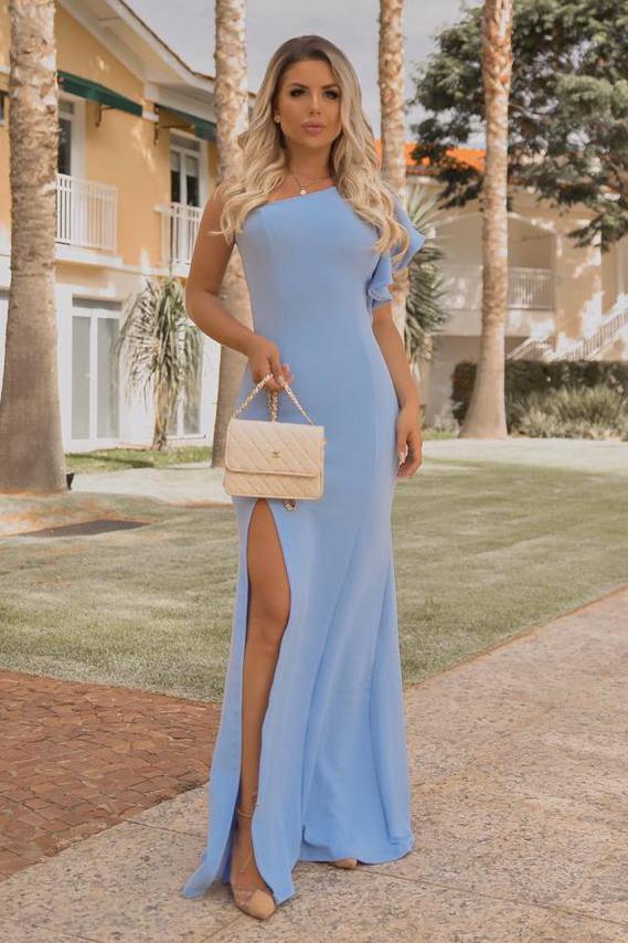 Vestido Longo Crepe Fenda Ombro Único Babado Azul
