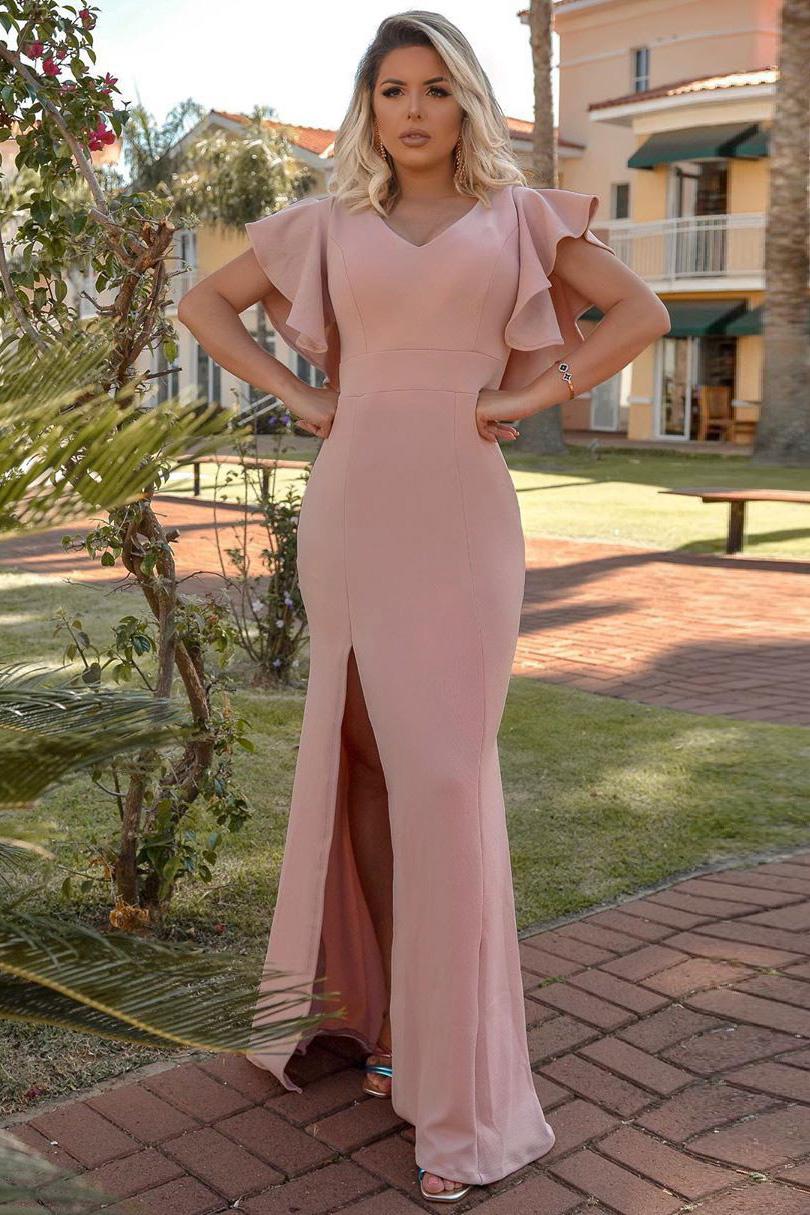 Vestido Longo Crepe Fenda Decote V Mangas Babado Costas Rosê