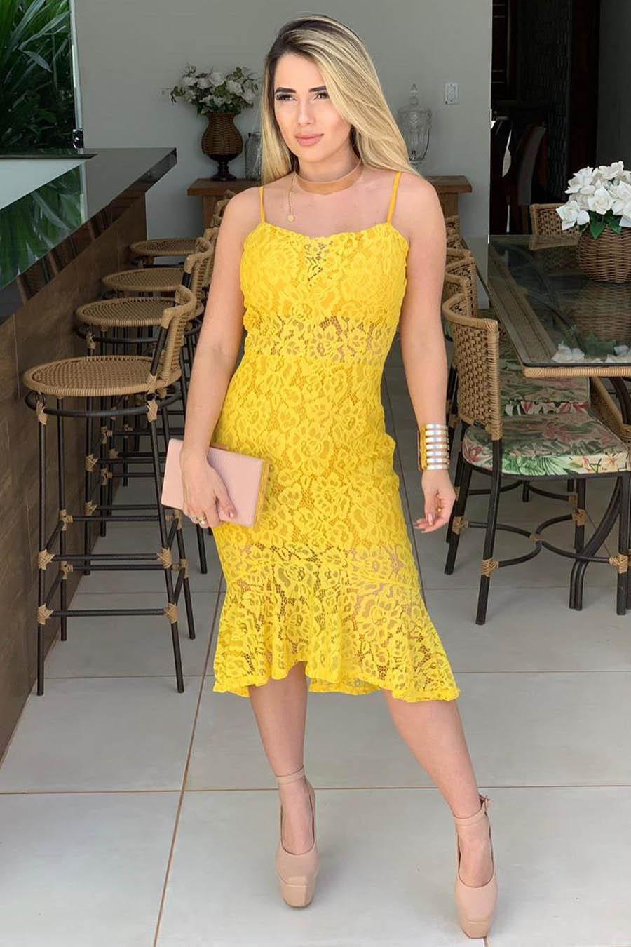 Vestido Curto Alça Renda Amarelo