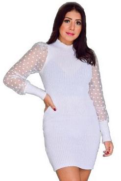 Vestido Curto Tricot Manga Tule Branco