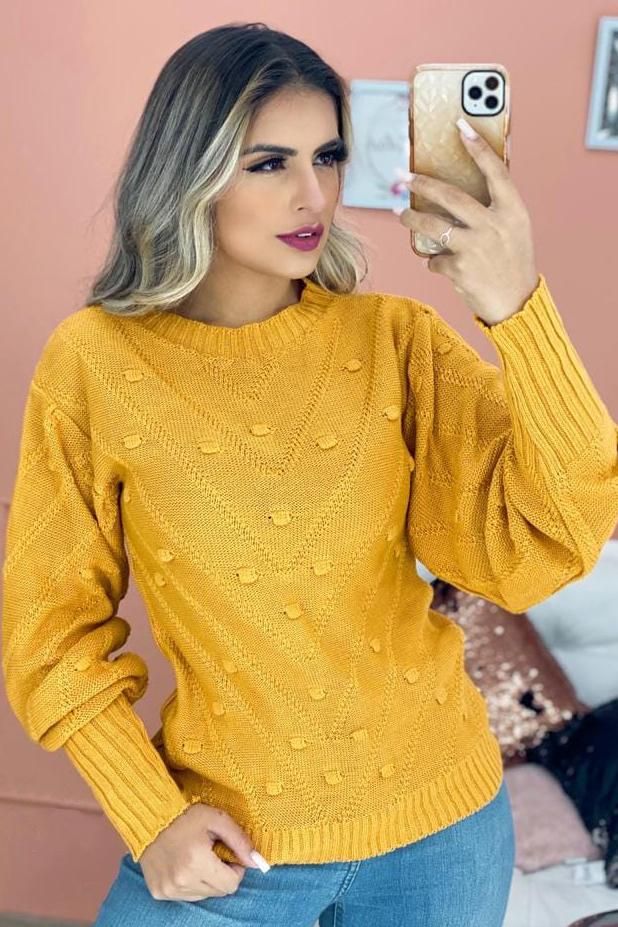 Blusa Tricot Manga Longa Relevo Amarelo