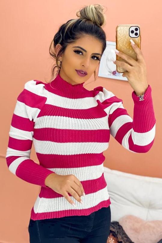 Blusa Tricot Manga Longa Cacharrel Listrada Rosa e Branco