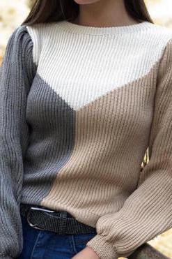 Blusa Tricot Manga Longa Tricolor