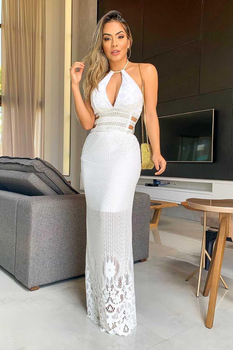Vestido Longo Renda Decote Jóia Branco