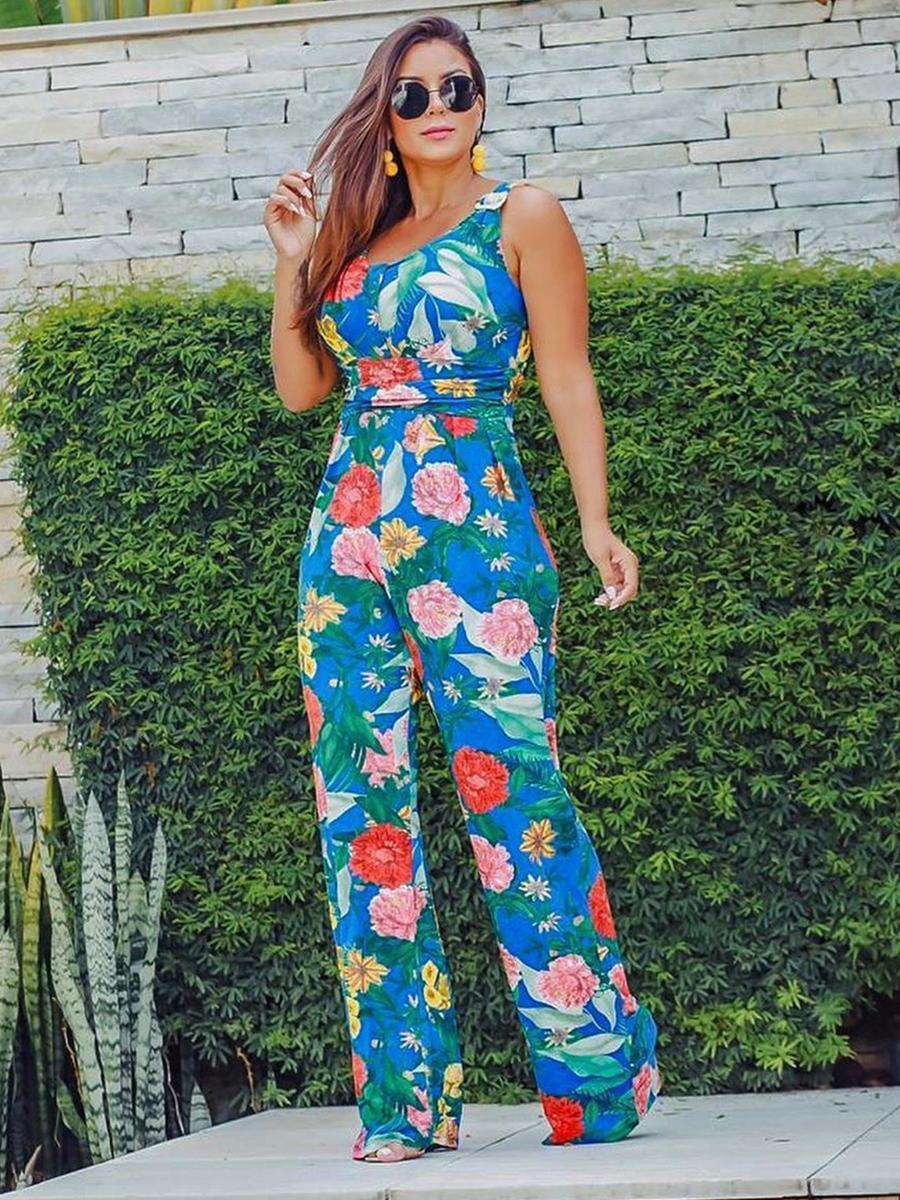 Macacão Longo Pantalona Viscolycra Floral Azul