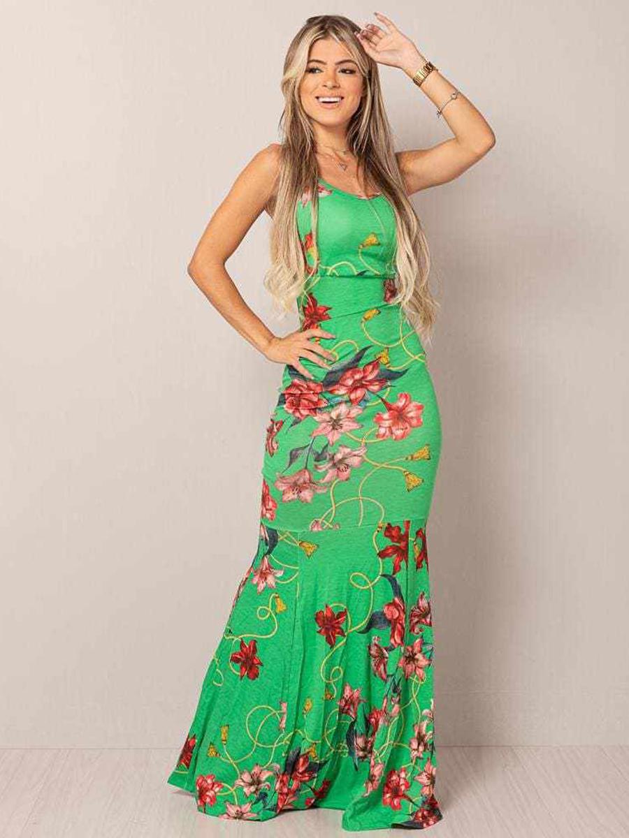 Vestido Longo Viscolycra Decotado Sereia Floral Verde