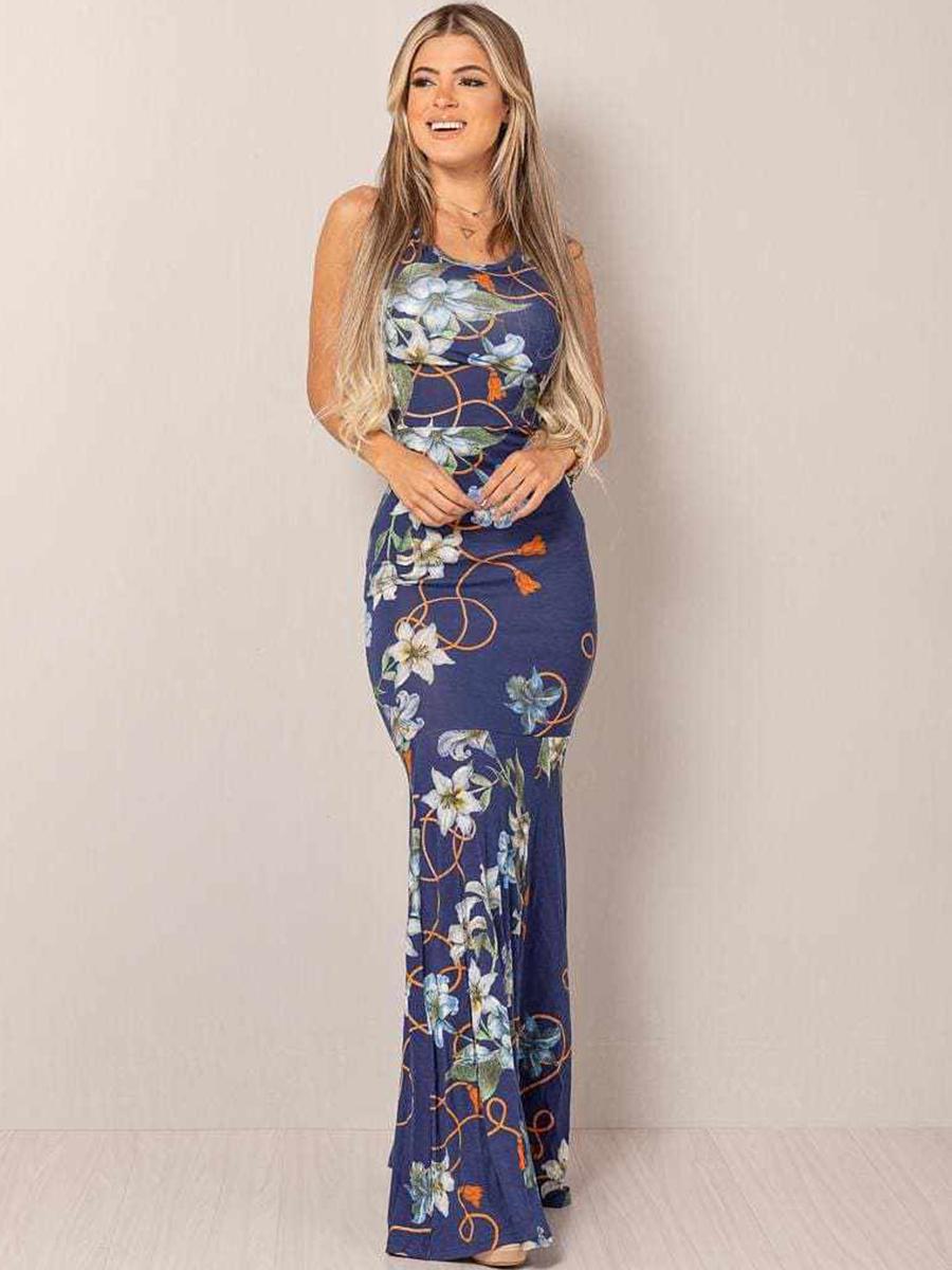 Vestido Longo Viscolycra Decotado Sereia Floral Azul