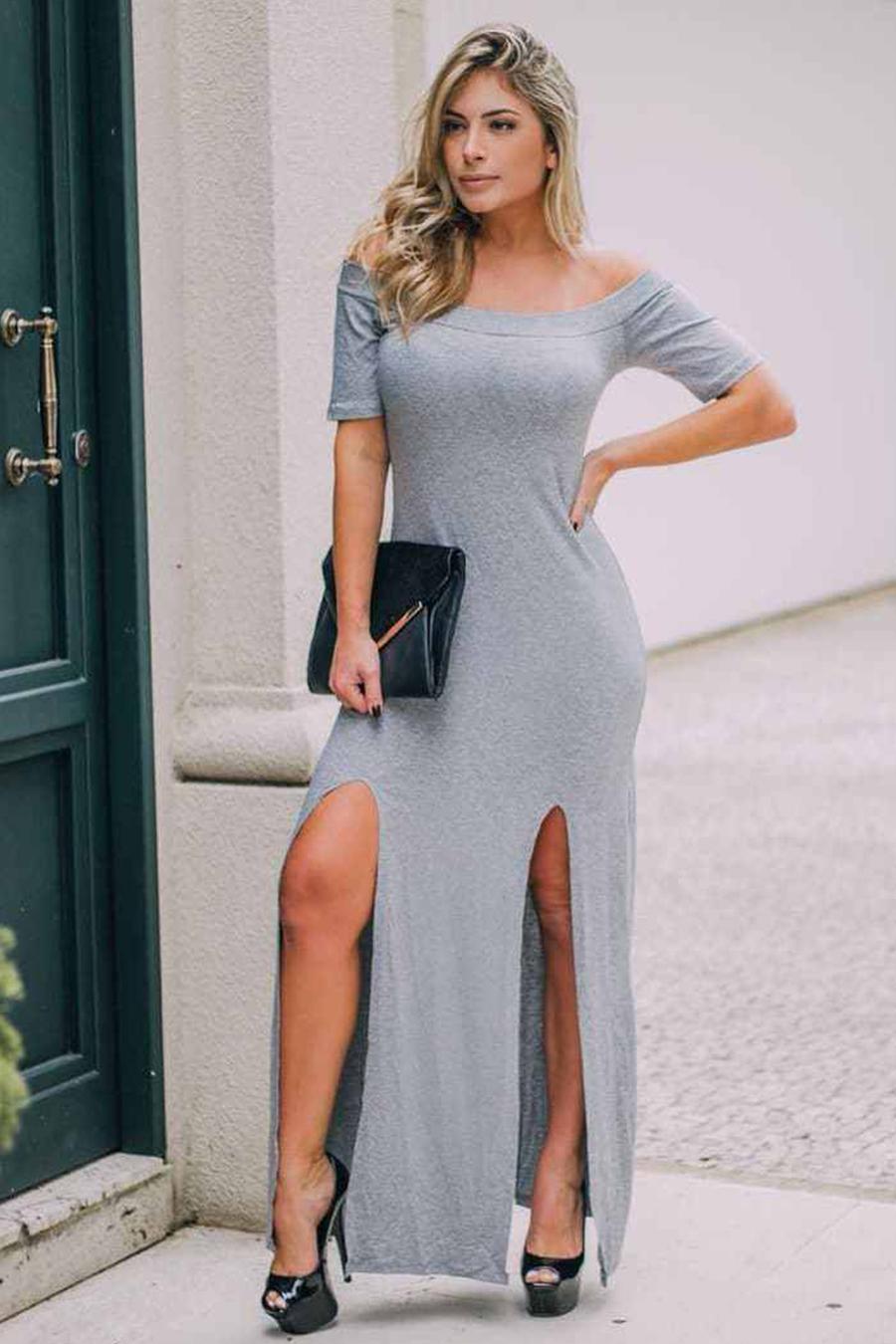 Vestido Longo Viscolycra Fendas Cinza