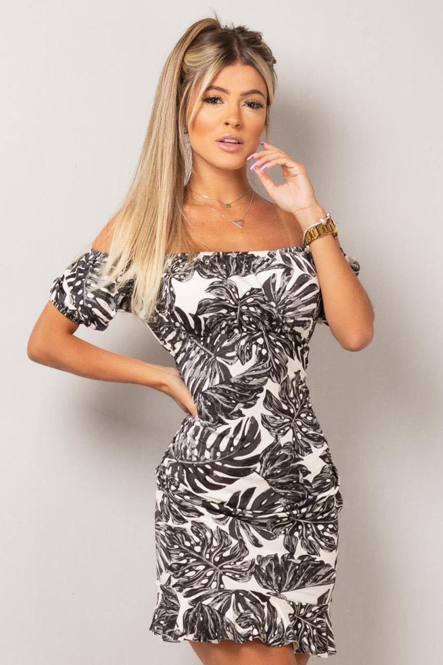 Vestido Curto Ombro a Ombro Preto Tropical