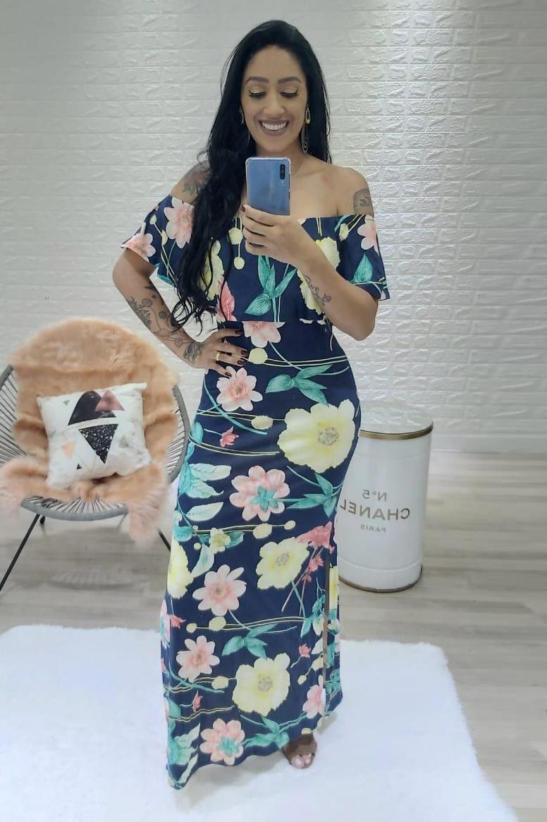 Vestido Longo Viscolycra Ciganinha Floral Azul