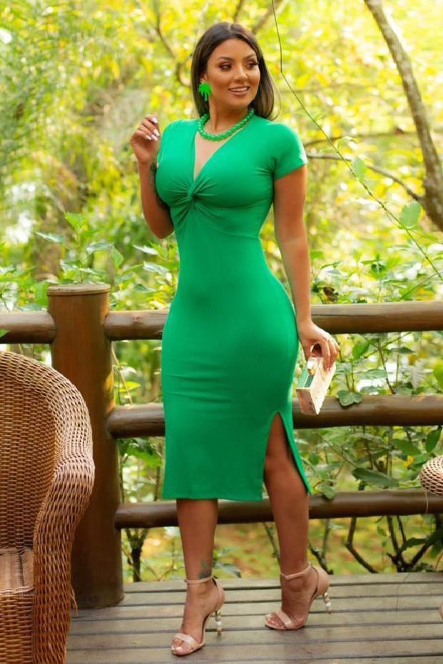 Vestido Midi Canelado Verde