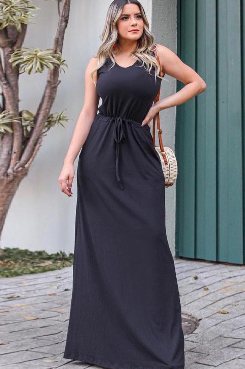 Vestido Longo Viscolycra Sem Manga Bolso Preto