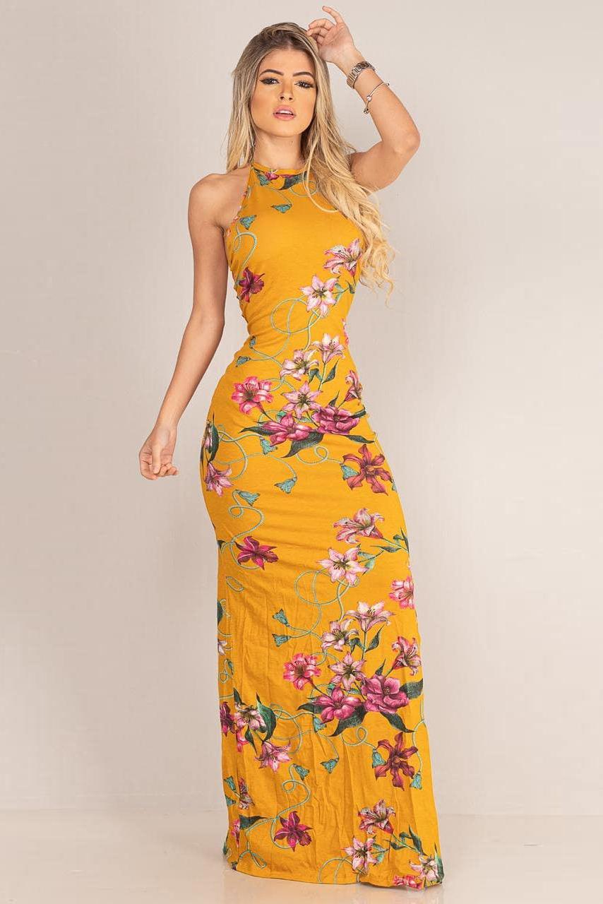 Vestido Longo Viscolycra Decote Joia Tiras Floral Mostarda