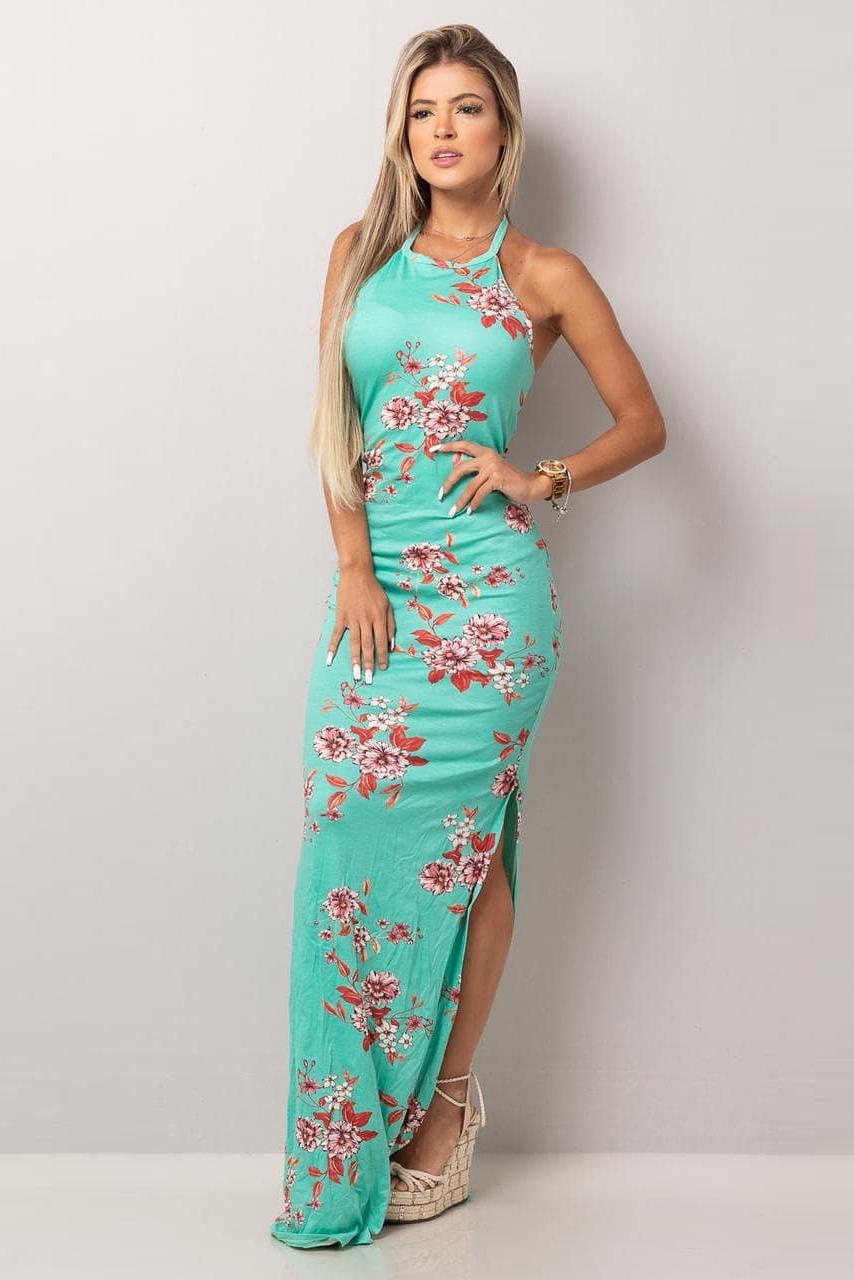 Vestido Longo Viscolycra Decote Joia Tiras Floral Azul