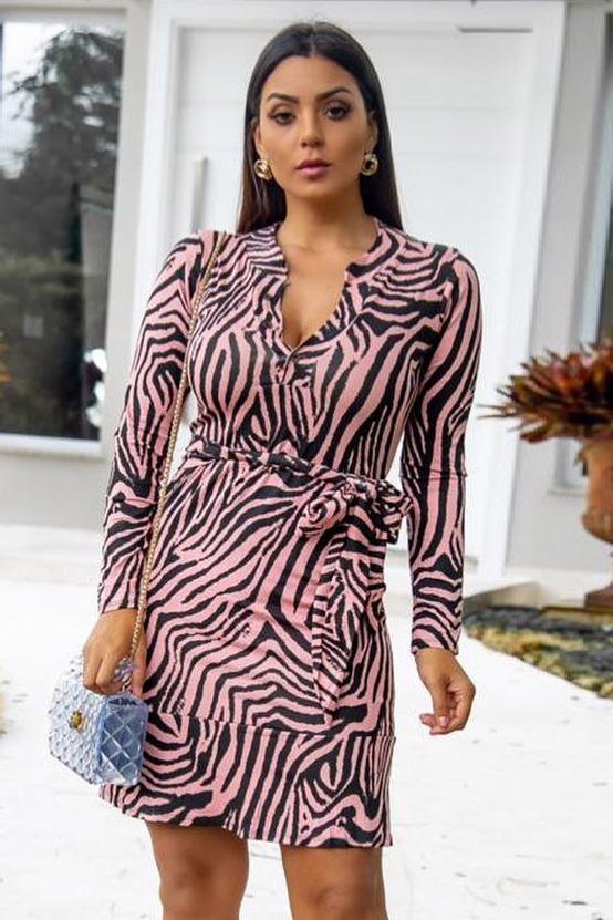 Vestido Chemise Curto Viscolycra Zebra Rosê