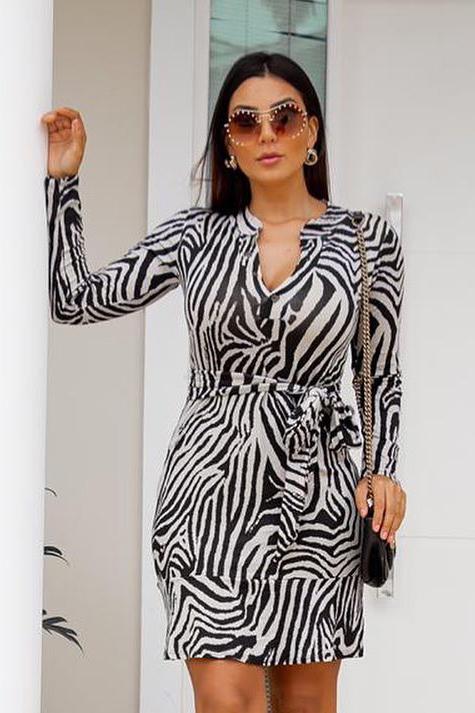 Vestido Chemise Curto Viscolycra Zebra