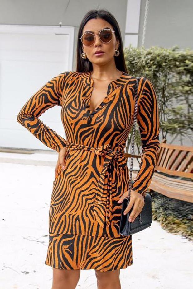 Vestido Chemise Curto Viscolycra Zebra Mostarda