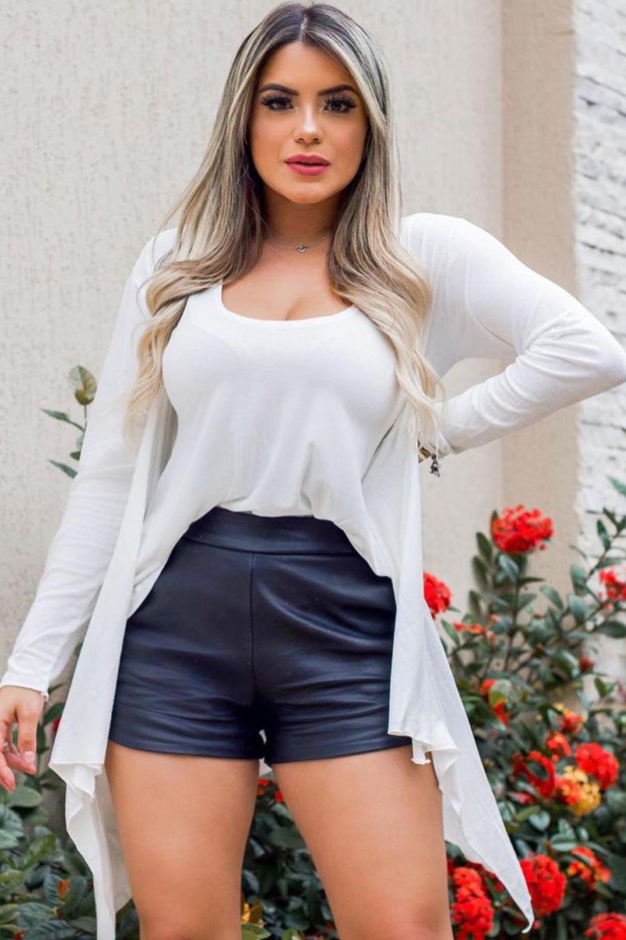 Conjunto Cardigan Regata Malha Podrinha Branco
