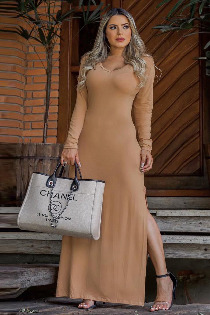 Vestido Longo Básico Fenda Lateral Marrom Claro