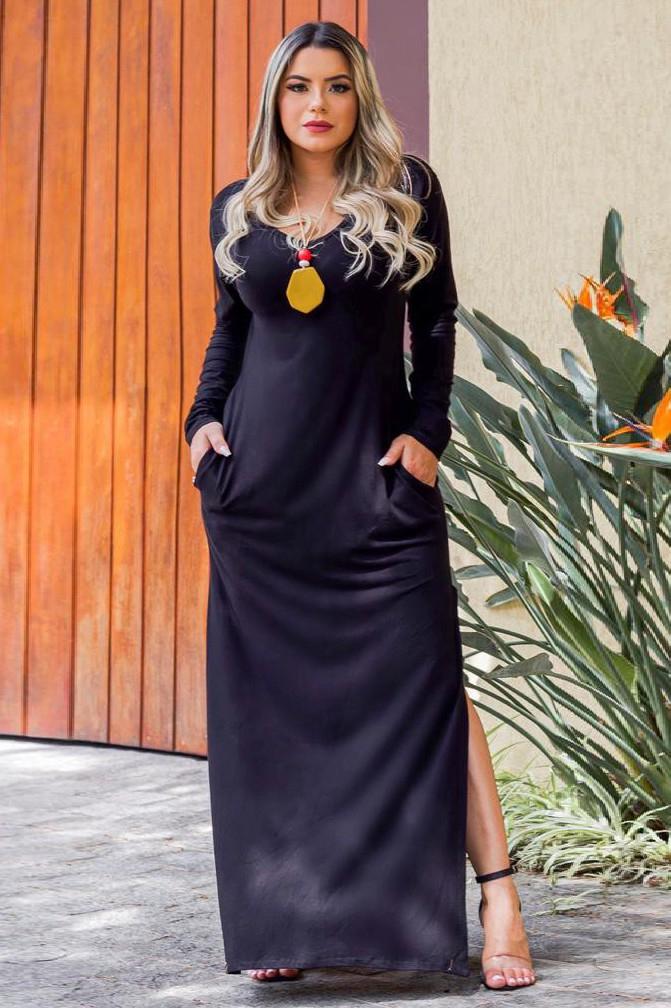 Vestido Longo Básico Fenda Lateral Preto