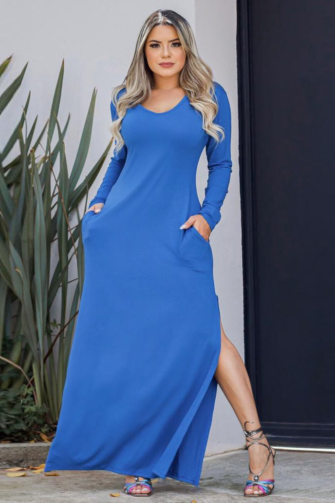 Vestido Longo Básico Fenda Lateral Azul