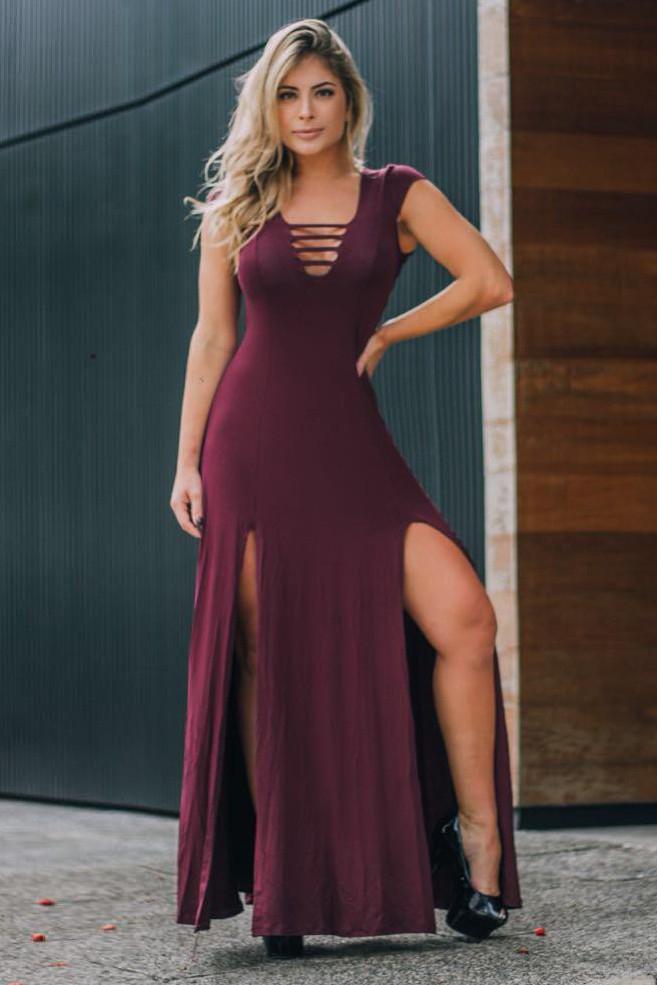 Vestido Longo Decote Tiras Fenda Bordô